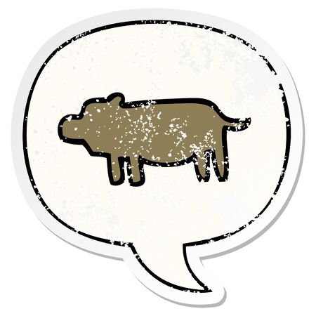cartoon animal symbol with speech bubble distressed distressed old sticker 矢量图像