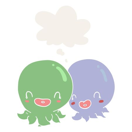 two cartoon octopi  with thought bubble in retro style
