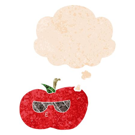 cartoon cool apple with thought bubble in grunge distressed retro textured style