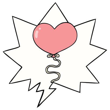 cartoon love heart balloon with speech bubble