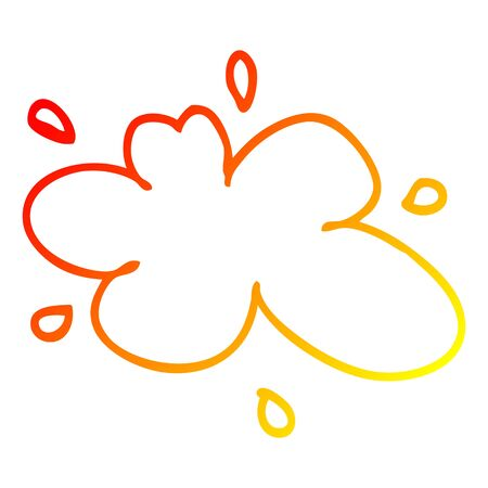 warm gradient line drawing of a cartoon red splat of paint
