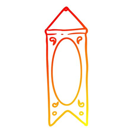 warm gradient line drawing of a hanging regal banner