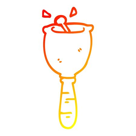 warm gradient line drawing of a cartoon ringing bell