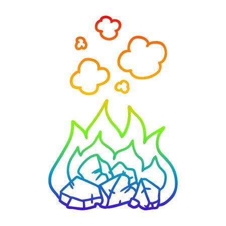 rainbow gradient line drawing of a cartoon hot coals