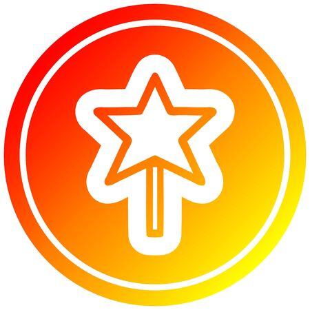 magic wand circular icon with warm gradient finish 向量圖像