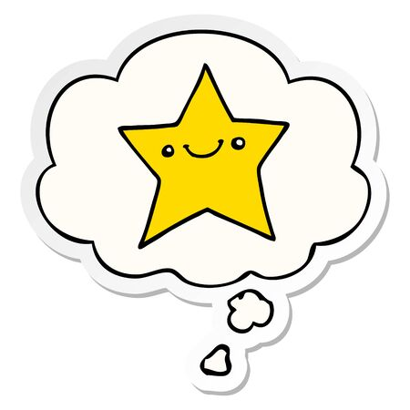 happy cartoon star with thought bubble as a printed sticker