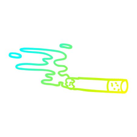 cold gradient line drawing of a cartoon cigarette Çizim