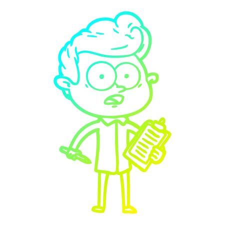 cold gradient line drawing of a shocked cartoon salesman