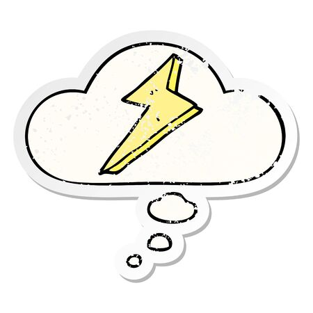 cartoon lightning with thought bubble as a distressed worn sticker
