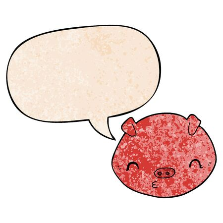 cartoon pig with speech bubble in retro texture style Illustration