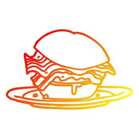 warm gradient line drawing of a amazingly tasty bacon breakfast sandwich with cheese
