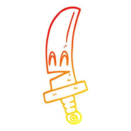 warm gradient line drawing of a cartoon happy magical sword 写真素材 - 128075582