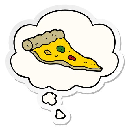 cartoon pizza with thought bubble as a printed sticker