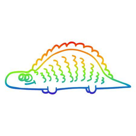 rainbow gradient line drawing of a cartoon prehistoric dinosaur Çizim