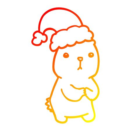 warm gradient line drawing of a cartoon christmas bear worrying