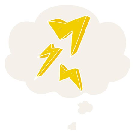 cartoon lightning bolt with thought bubble in retro style