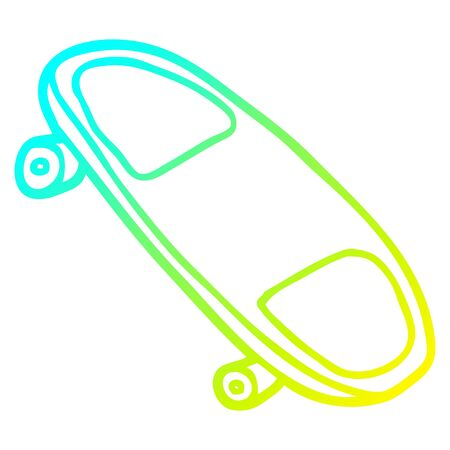 cold gradient line drawing of a cartoon skateboard