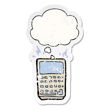 cartoon calculator with thought bubble as a distressed worn sticker