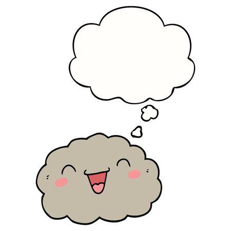 happy cartoon cloud with thought bubble Ilustração