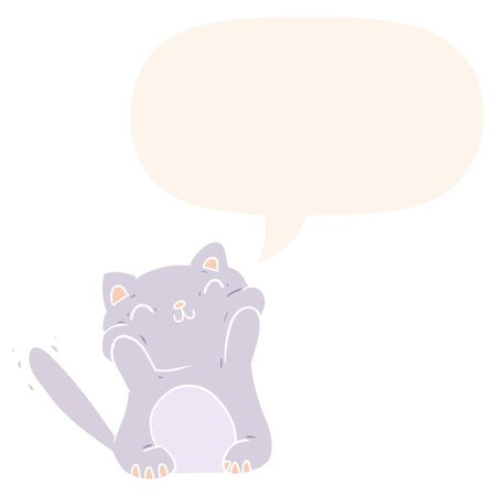 very happy cute cartoon cat  with speech bubble in retro style