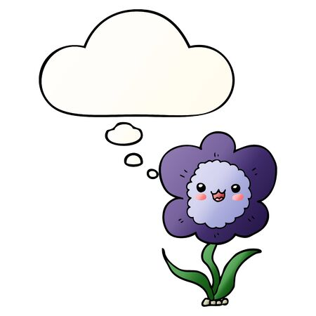 cartoon flower with thought bubble in smooth gradient style Çizim