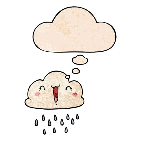 cartoon storm cloud with thought bubble in grunge texture style