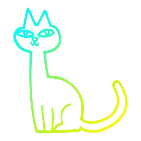 Dibujo de la línea de gradiente en frío de un gato de dibujos animados