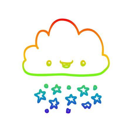 rainbow gradient line drawing of a cartoon storm cloud Illustration