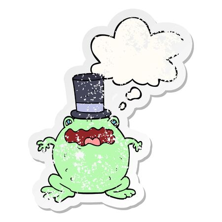 cartoon toad wearing top hat with thought bubble as a distressed worn sticker Illusztráció