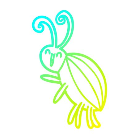 cold gradient line drawing of a cartoon happy beetle Çizim