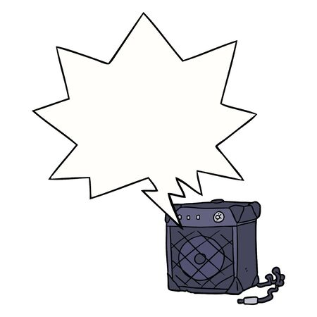 cartoon electric guitar amp with speech bubble