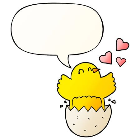 cute hatching chick cartoon with speech bubble in smooth gradient style Ilustração