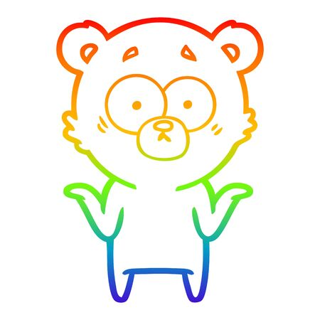 rainbow gradient line drawing of a cartoon bear shrugging shoulders
