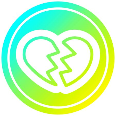 broken heart icon with cool gradient finish