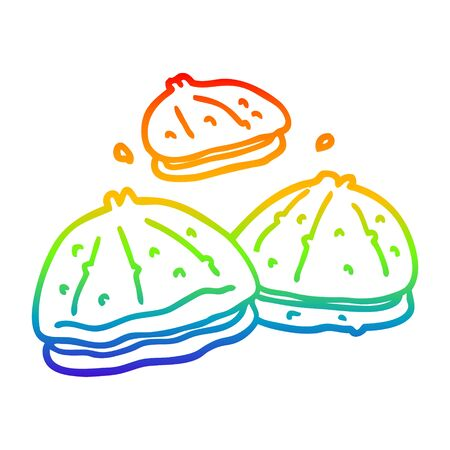 rainbow gradient line drawing of a cartoon fresh oysters