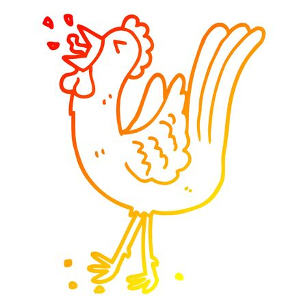 warm gradient line drawing of a cartoon crowing cockerel