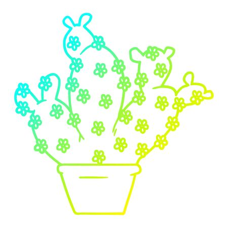 cold gradient line drawing of a cartoon potted cactus Illustration