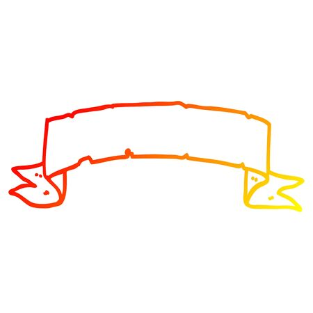 warm gradient line drawing of a cartoon scroll banner