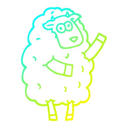 cold gradient line drawing of a cartoon sheep 일러스트