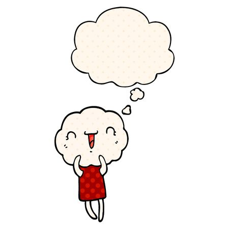 cute cartoon cloud head creature with thought bubble in comic book style Stok Fotoğraf - 128117507