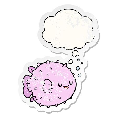 cartoon blowfish with thought bubble as a distressed worn sticker Stok Fotoğraf - 128115488