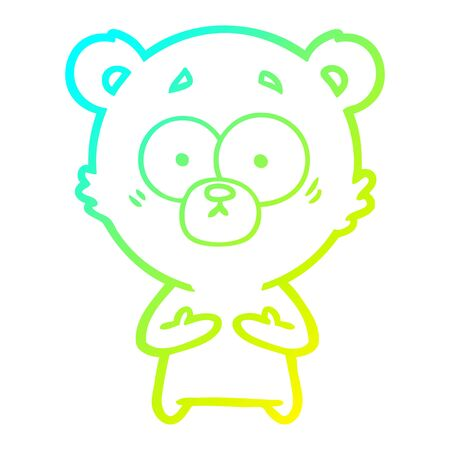 cold gradient line drawing of a surprised bear cartoon
