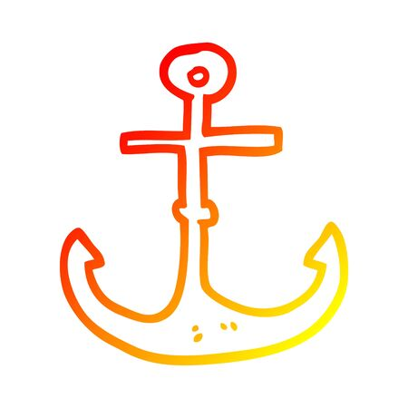 warm gradient line drawing of a cartoon ship anchor