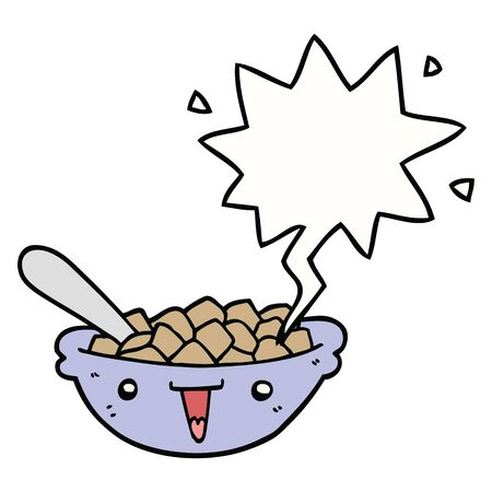 cute cartoon bowl of cereal with speech bubble