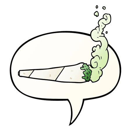 cartoon marijuiana joint with speech bubble in smooth gradient style
