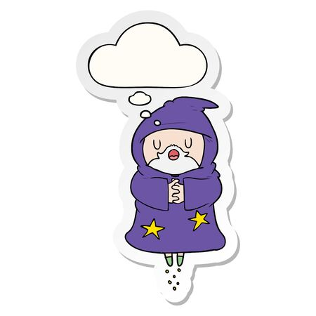 cartoon floating wizard with thought bubble as a printed sticker Çizim
