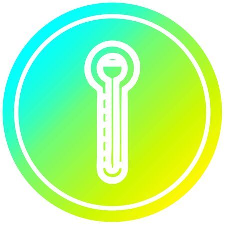 glass thermometer circular icon with cool gradient finish 向量圖像