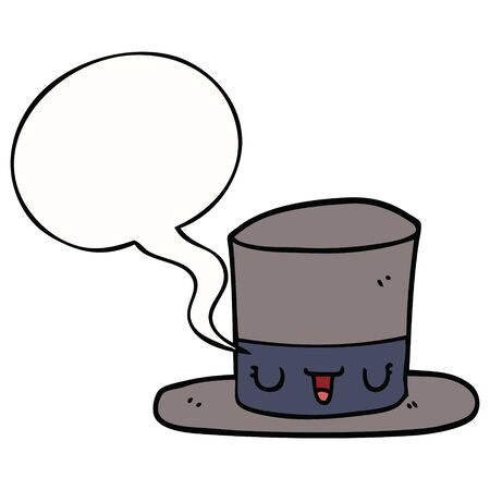 cartoon top hat with speech bubble Illustration