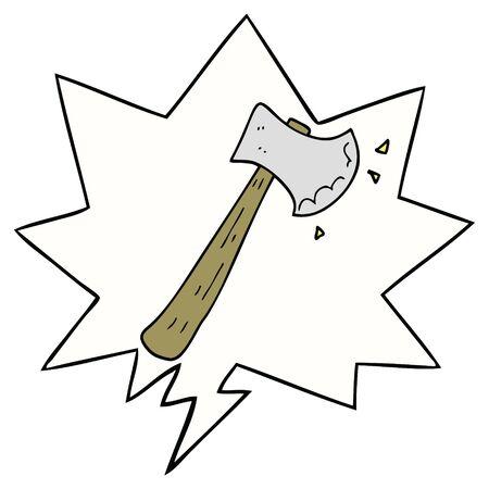 cartoon axe with speech bubble 向量圖像