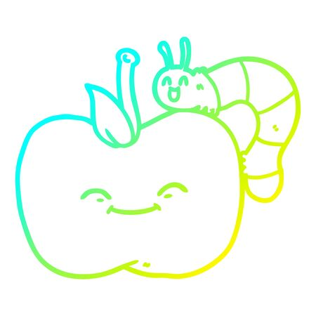 cold gradient line drawing of a cartoon apple and bug